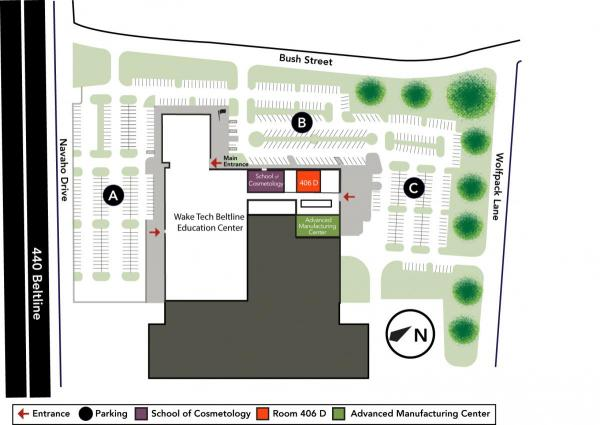 Wake Tech Beltline Education Center Visitor Parking Map
