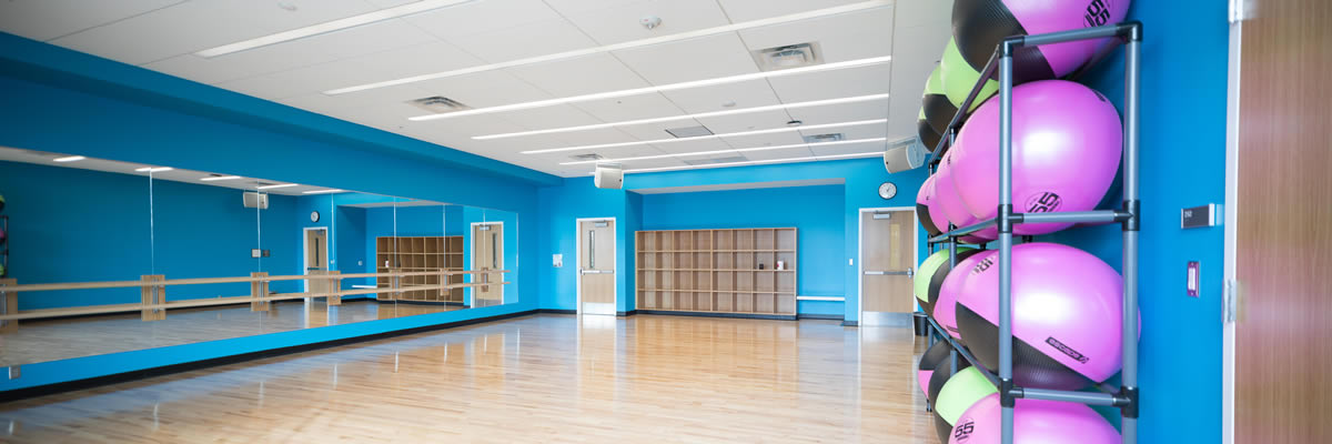 The group exercise studio is utilized for classes such as Aerobics, Yoga, Dance, and Fitness and Wellness.
