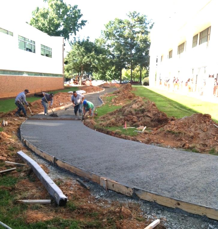 Figure 8: Creating the walkway at Southern Wake (Main) Campus between LE and ETB.