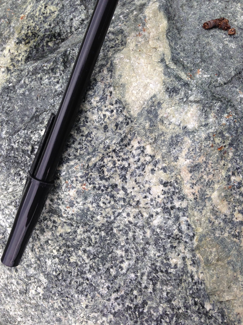 Figure 4: A diorite intrusion into the greenstone.