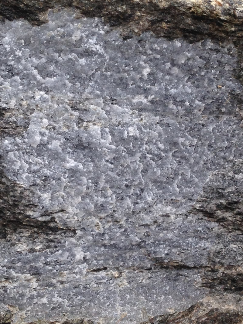 Figure 5: A close-up view of the surface of the marble showing the surface texture where the minerals have fused together during metamorphism.