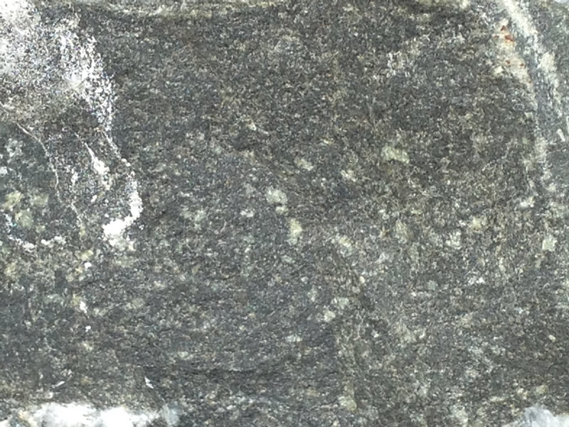 Figure 4: Close up of the basaltic dike. Notice that the minerals are all dark gray or green, and that they are very small.
