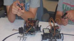 Campers testing their robots