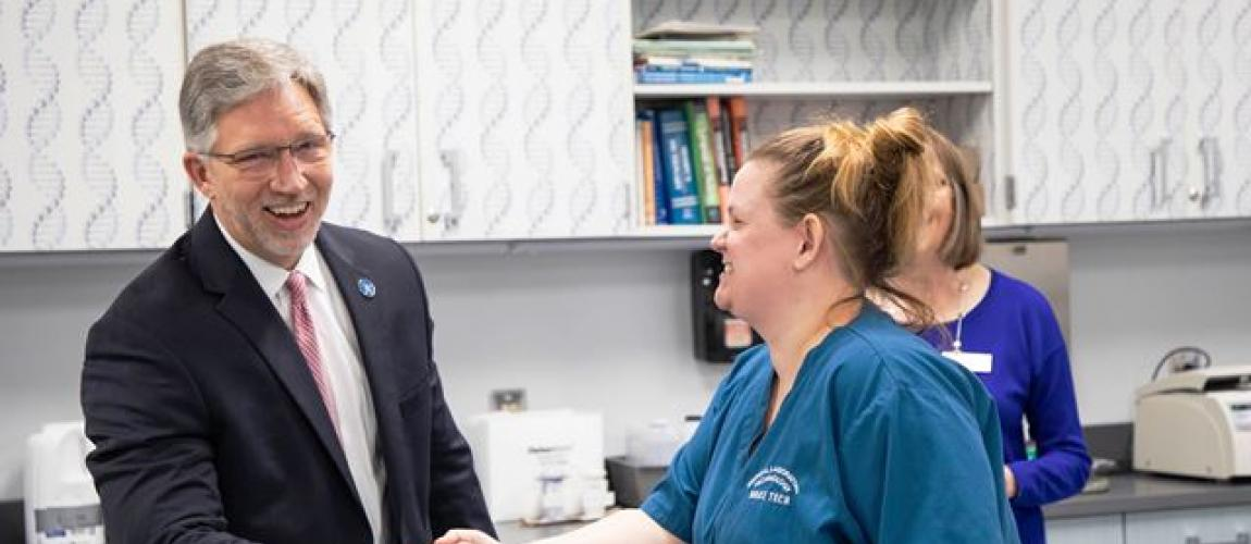 Incoming Wake Tech President Tours Perry Health Sciences Campus