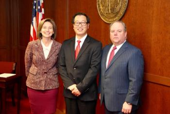 Jennifer Haygood, NCCCS Acting President; Kai Wang, Wake Tech Sr. Dean of Innovation; Scott Shook, SBCC Chair