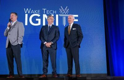 Matt Smith, Executive Director, Wake Tech Foundation; Dr. Scott Ralls, Incoming Wake Tech President; Tom Looney, Chair, Wake Tech Board of Trustees