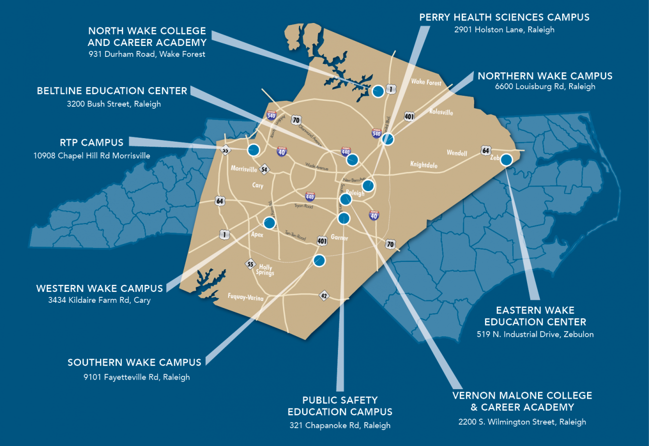 Campus Map Ufl.Wake Tech S Campuses Centers Wake Technical Community College
