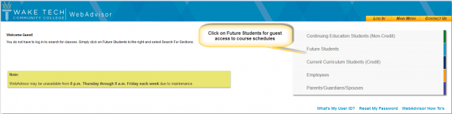 2.	Click on Future Students on the right side of the screen to use guest access to course schedules