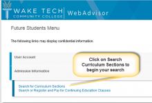 Search for Curriculum Sections